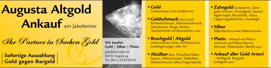 Goldankauf Und Silberankauf Augsburg Augusta Altgold Ankauf